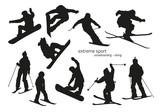 Fototapety Winter extreme sport silhouette - snowboarding, skiing. Vector illustration