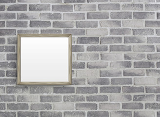 blank frame on grey birck wall © JoyImage