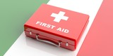 3d rendering first aid kit on Italy flag background