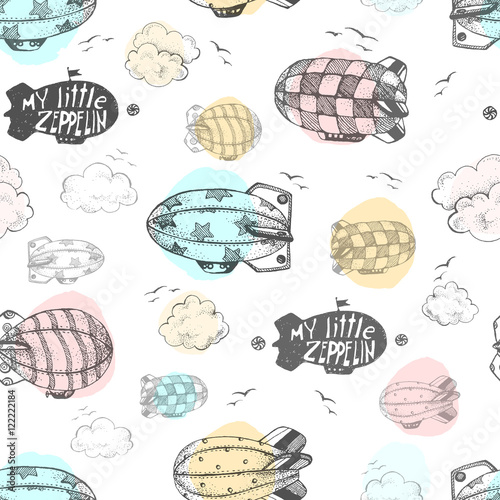 Hand drawn vector seamless pattern with cute little airchips wit
