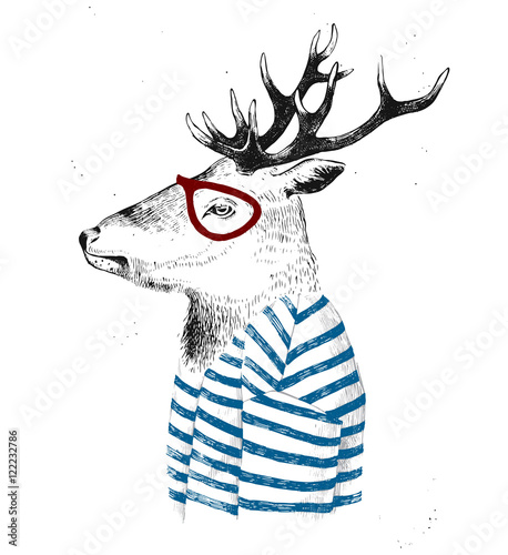 dressed up deer in hipster style - 122232786