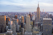Soft sunset view of the Midtown Manhattan New York City skyline looking south