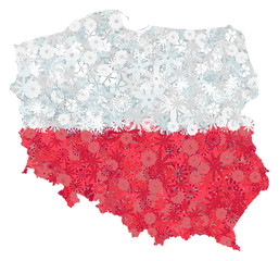 Flag and map of Poland with flowers. Clipping path included in jpeg file