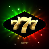 Triple sevens casino jackpot banner, lucky numbers 777