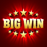 Big Win banner background for lottery or casino games such as poker, roulette, slot machines or card games.