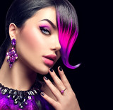 Fototapety Sexy beauty fashion woman with purple dyed fringe hairstyle isolated on black background