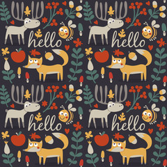 Seamless cute animal autumn pattern made with fox, deer, moose, bee, flower, plant, leaf, berry, heart, friend, floral, nature, , acorn, mushroom, wild