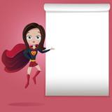 Superhero girl flying showing blank space