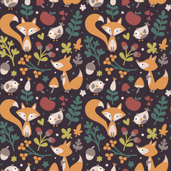 Seamless cute autumn pattern made with fox, bird, flower, plant, leaf, berry, heart, friend, floral, nature, acorn, Rowan, mushroom
