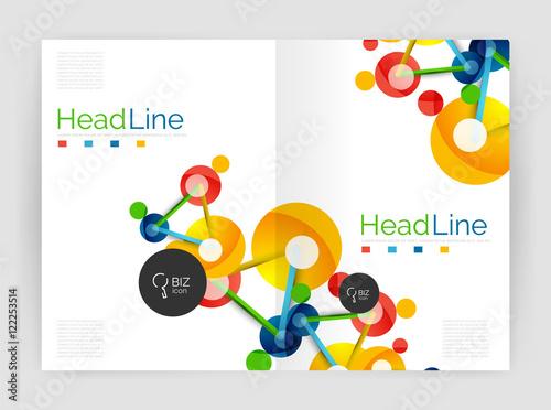 Deurstickers Geometrische dieren Lines and circles, modern abstract business annual report template