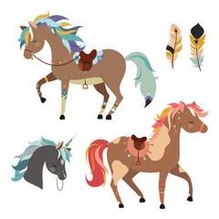 Tribal horses clipart. Vector illustration isolated on white background.