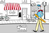 Fototapeta Paris - Spacer po Paryżu z psem na smyczy z bagietką w dłoni © wdesignart