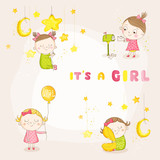 Set of Cute Baby Girl Illustrations - for Baby Shower or Arrival