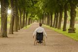 Rollstuhlfahrer in Allee