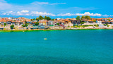 The fortress wall and old town of Sozopol. - 122276159