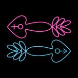 XXX neon erotic symbols black background vector illustration