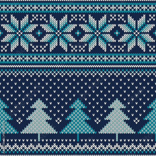 Materiał do szycia Winter Holiday Seamless Knitting Pattern with a Christmas Tree. Vector Knitted Wool Texture