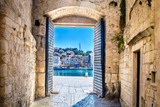 City gate Trogir. / View at mediterranean town Trogir in Croatia, Europe. - 122320382