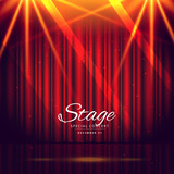 red stage background with closed curtains