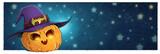 calabaza de halloween con sombrero de bruja
