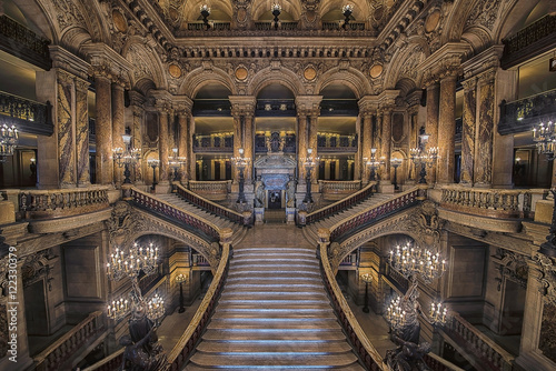 Stairway inside the Opera house Palais Garnier Poster