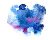 Blue and violet watery illustration.Abstract watercolor hand drawn image.Wet splash.White background.