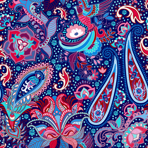 Materiał do szycia Colorful indian seamless pattern