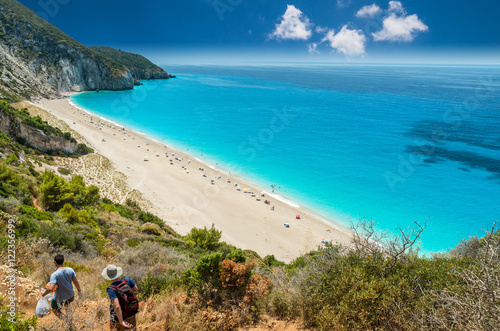 Milos beach on Lefkada island, Greece. Milos beach near the Agios Nikitas village on Lefkada, Greece © Lucian Bolca