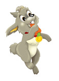 Cartoon happy rabbit eating carrot - isolated - illustration for children
