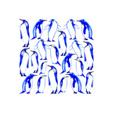 postcard with penguins.arctic animals.watercolor hand drawn illustration.white background.