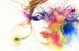 woman portrait .abstract watercolor .fashion background - 122371718