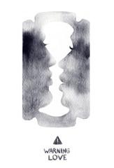 love-blade. man and woman. abstract illustration. kiss. watercolor art © Anna Ismagilova