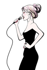 Woman singing with microphone © Isaxar