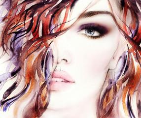 woman portrait .abstract watercolor .fashion background © Anna Ismagilova