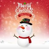 Merry christmas happy snowman cartoon on snow background vector