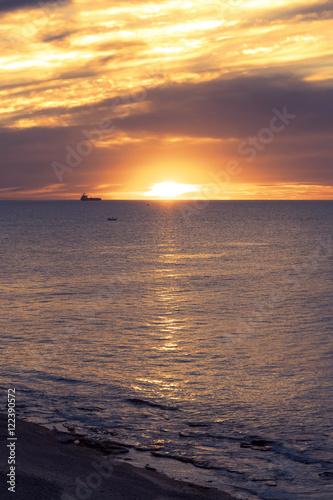Foto op Canvas Zee zonsondergang seascape near the marina in Israel, Ashkelon