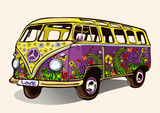 Fototapety Hippie vintage bus, retro car with airbrushing, hand-drawing, cartoon transport. Bright yellow purple bus painted colorful flowers. Isolated vector illustration
