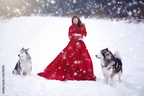 Poster Woman on red dress with dogs