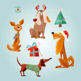 Holiday for dogs. Four dogs and gift box with bones. Christmas greeting card.