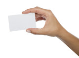 Business Card on Hand Isolated