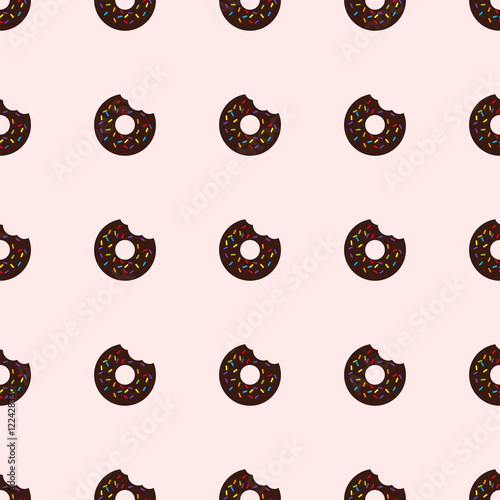 Cotton fabric Bitten donut. Seamless pattern