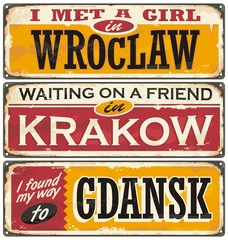 Retro tin signs souvenirs from Poland