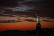 The Statue of Liberty on a Dramatic Sunset Red Sky