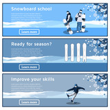 Flat horizontal banners on the theme of snowboarding