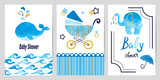 Fototapety Baby shower boy set. Vector invitation card design.