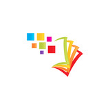 book library paper logo icon