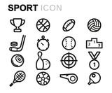 Vector black line sport icons set