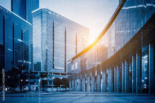 Fototapeta office area and empty square,shanghai,china,blue toned.