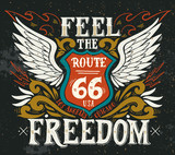 Fototapety Feel the freedom. Route 66. Hand drawn grunge vintage illustrati