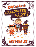 Halloween background with kids in Halloween costumes. Vector illustration.
